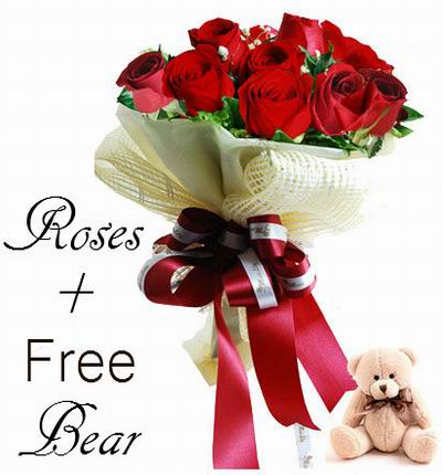 12 Red Roses + Free Mini Bear